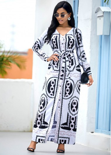 Chain Print V Neck Long Sleeve Belted Maxi Dress - L