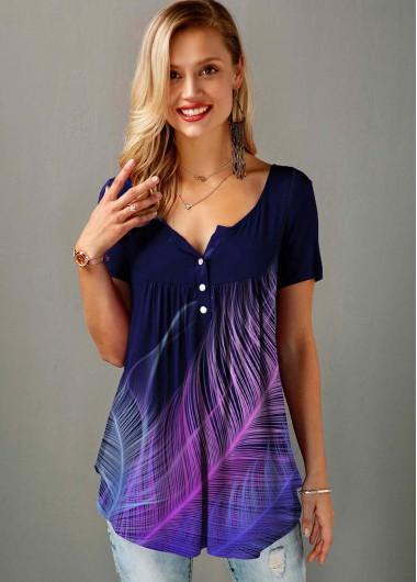 Feather Print Split Neck Short Sleeve T Shirt - L