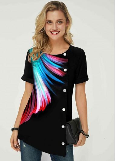 Feather Print Inclined Button Asymmetric Hem T Shirt - L