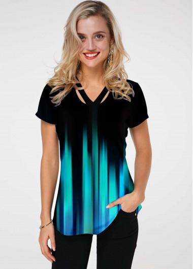 Ombre Short Sleeve Cutout Neckline T Shirt - L