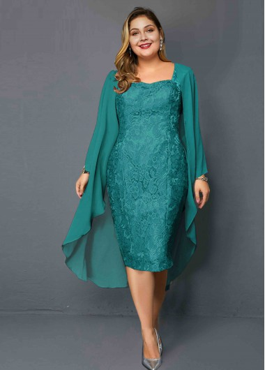 Plus Size Chiffon Cardigan and Lace Dress - 1X