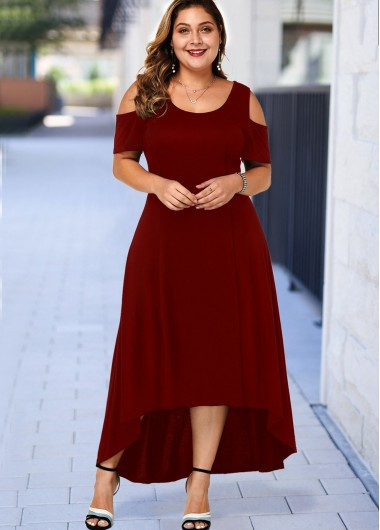 Plus Size Cold Shoulder High Low Dress - 1X