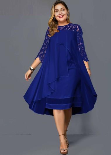 Plus Size Lace Panel Chiffon Overlay Dress - 1X
