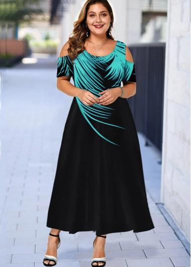 Plus Size Palm Leaf Print Cold Shoulder Dress - 1X