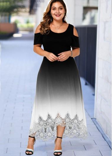 Plus Size Ombre Lace Hem Cold Shoulder Dress - 1X