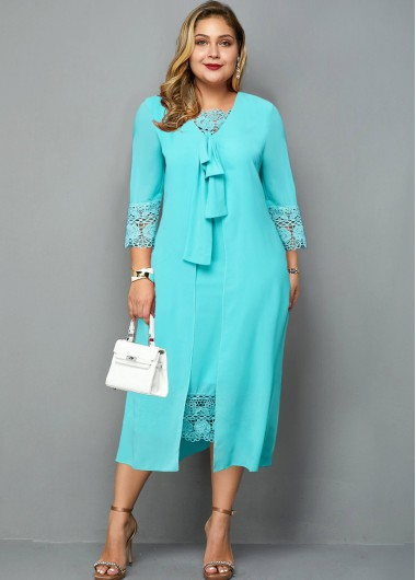 Plus Size Lace Panel Knot Detail Dress - 1X