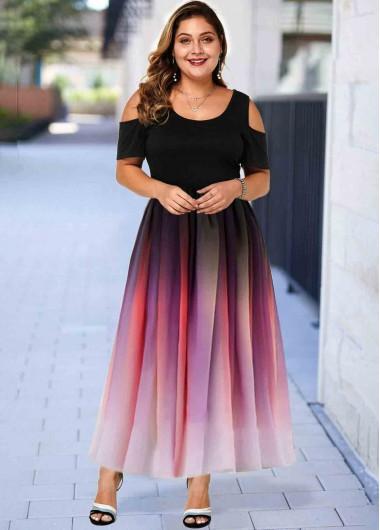 Plus Size Ombre Cold Shoulder Maxi Dress - 1X