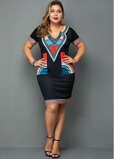 Plus Size Tribal Print Short Sleeve Dress - 1X