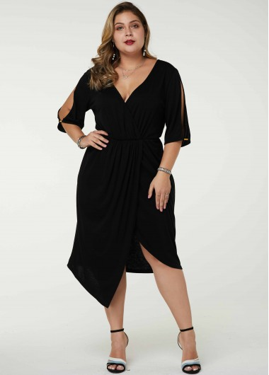 Plus Size Asymmetric Hem Plunging Neck Cold Shoulder Dress - 1X