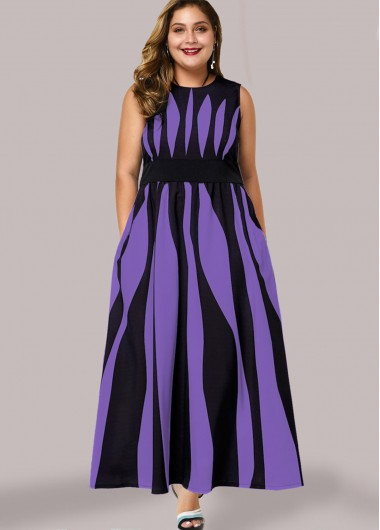 Plus Size Zebra Print Side Pocket Maxi Dress - 1X