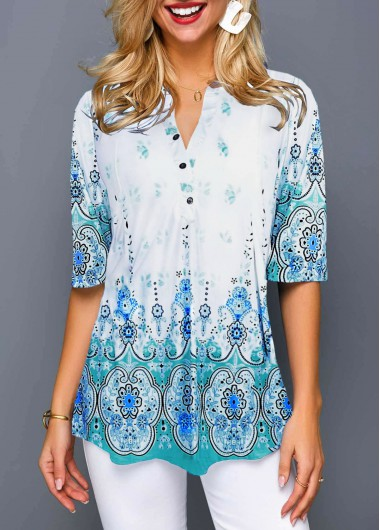 Tribal Print Split Neck Half Sleeve Blouse - L