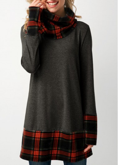 Plaid Print Cowl Neck Long Sleeve Sweatshirt - S