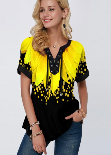 Sunflower Print Lace Up Short Sleeve Blouse - L