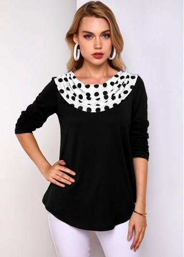Polka Dot Long Sleeve Black T Shirt - L