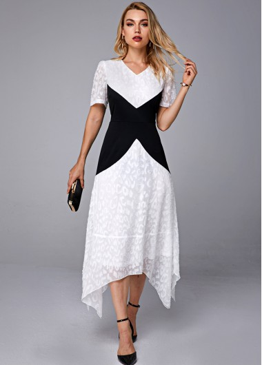 Asymmetric Hem Contrast V Neck Short Sleeve Dress - L