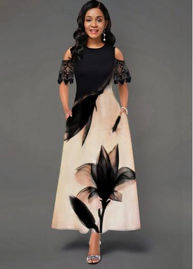 Floral Print Cold Shoulder Lace Panel Pocket Dress - L