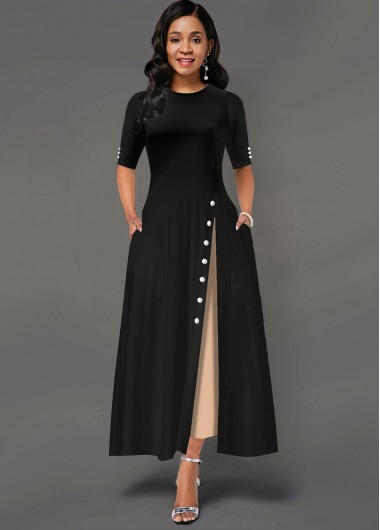 Contrast Inclined Button Side Pocket Maxi Dress - L