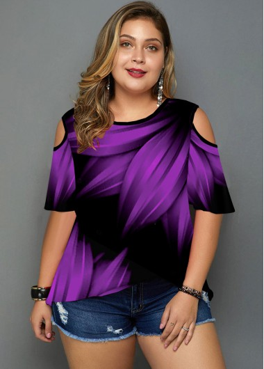 Plus Size Printed Cold Shoulder T Shirt - 2X