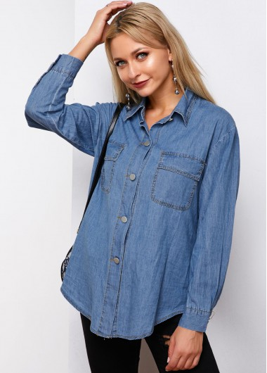 Button Up Chest Pocket Denim Shirt - L