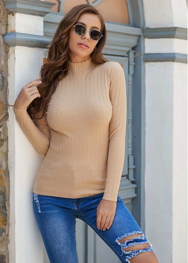 Long Sleeve Mock Neck Pullover Sweater - L