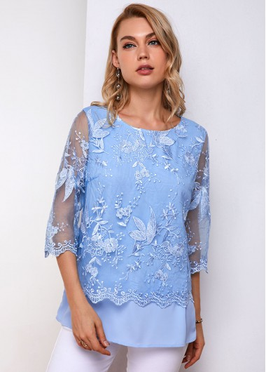 Lace Panel Round Neck Three Quarter Sleeve Blouse - L