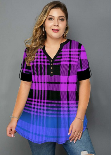 Plus Size Plaid Print Ombre T Shirt - 1X