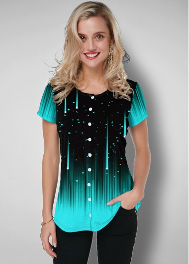 Starry Night Print Button Up Ombre T Shirt - L