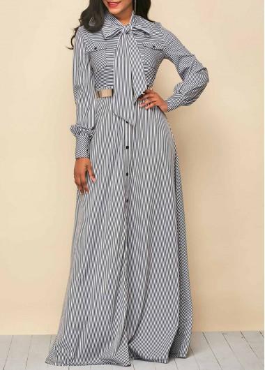 Stripe Print Button Up Tie Neck Dress - L