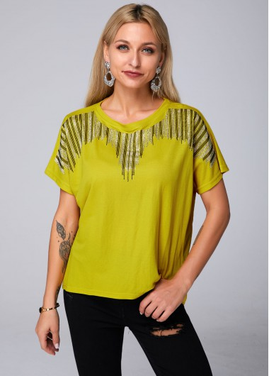 Round Neck Short Sleeve Hot Drilling T Shirt - S