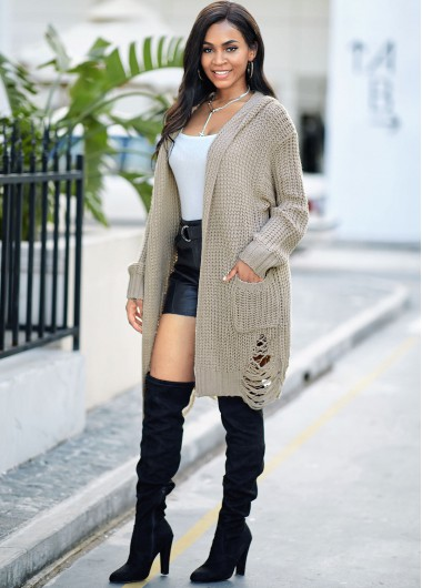 Hooded Collar Open Front Pocket Cardigan - S