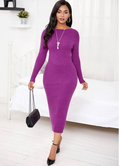 Round Neck Long Sleeve Sweater Dress - M