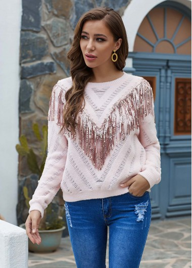 Tassel Detail Round Neck Long Sleeve Sweater - L