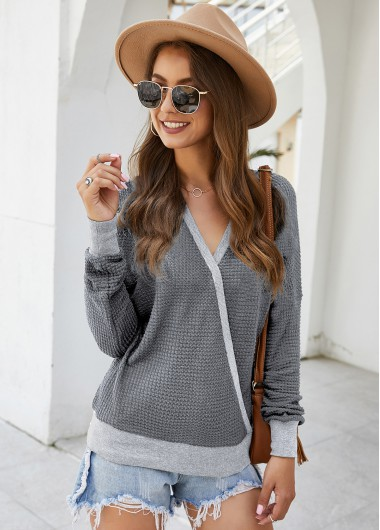V Neck Contrast Panel Long Sleeve Sweater - S