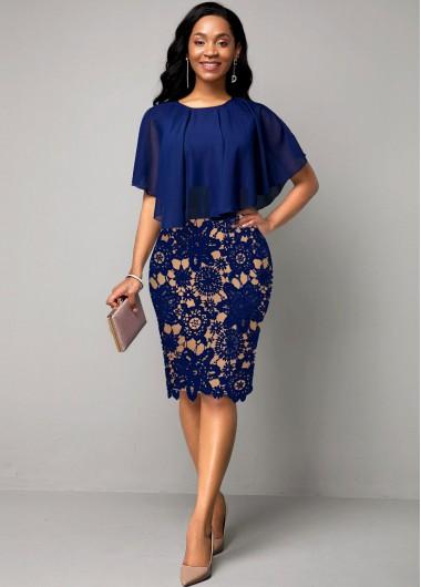 Lace Panel Cape Sleeve Navy Blue Dress - L