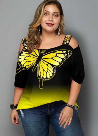 Plus Size Ombre Butterfly Print Sequin T Shirt - 1X
