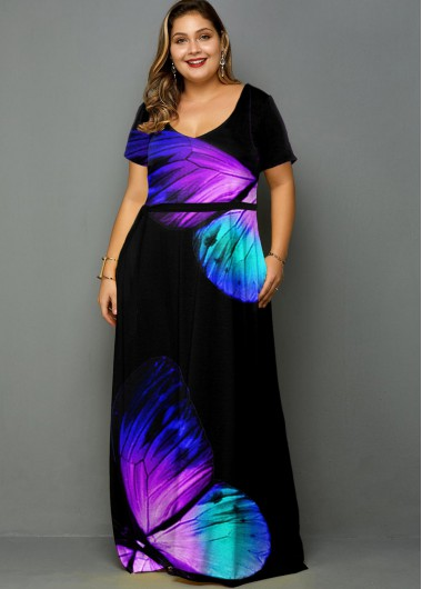 Plus Size Butterfly Print Belted Pocket Dress - 1X
