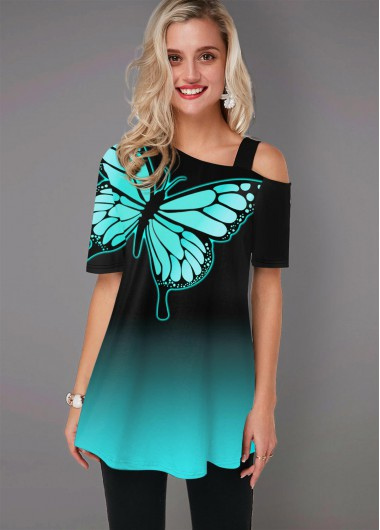 Butterfly Print Cold Shoulder Ombre T Shirt - L