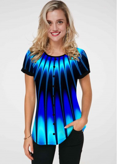 Printed Round Neck Short Sleeve T Shirt - L