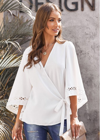 Flare Sleeve Tie Side Wrap Blouse - L