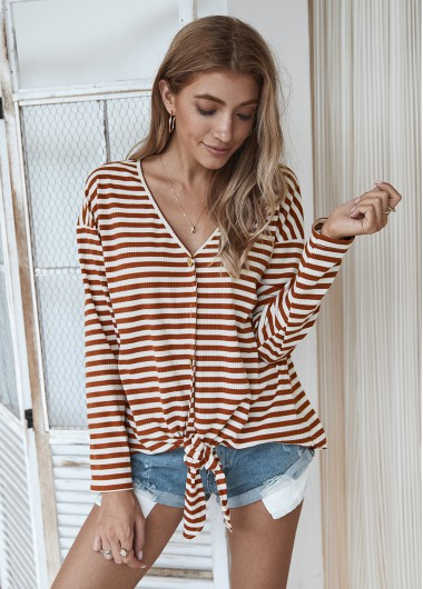 Stripe Print Knotted Hem Button Up T Shirt - L