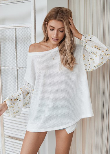 Long Sleeve Floral Print Round Neck T Shirt - L