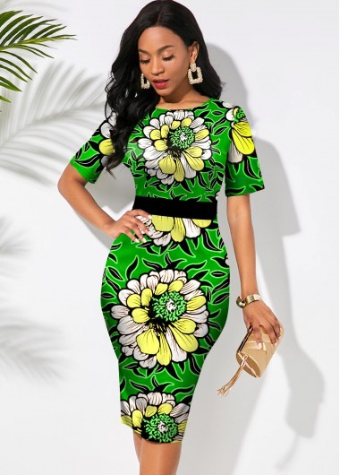 Christmas Holiday Dress Floral Print Round Neck Short Sleeve Dress - S
