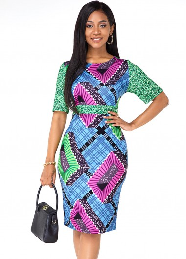 Tribal Print Round Neck Half Sleeve Dress - L