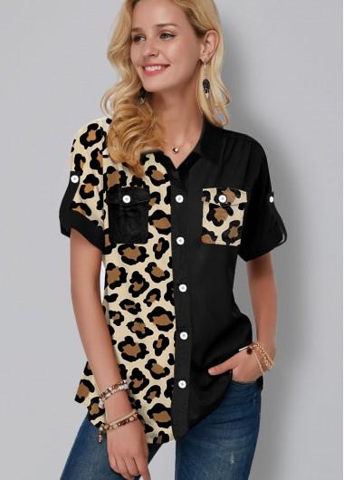 Leopard Print Button Up Chest Pocket Blouse - L