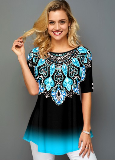 Tribal Print Round Neck Ombre T Shirt - M