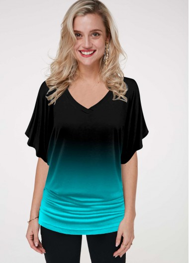 Ombre Printed Butterfly Sleeve T Shirt - L