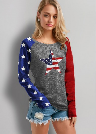 American Flag Print Long Sleeve T Shirt - L