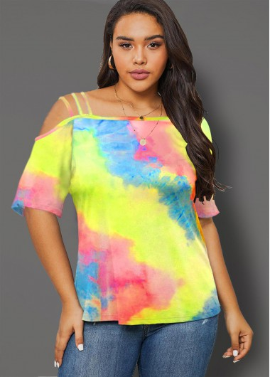 Plus Size Rainbow Color Tie Dye Print T Shirt - 3X