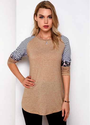 Stripe and Leopard Round Neck Long Sleeve T Shirt - M
