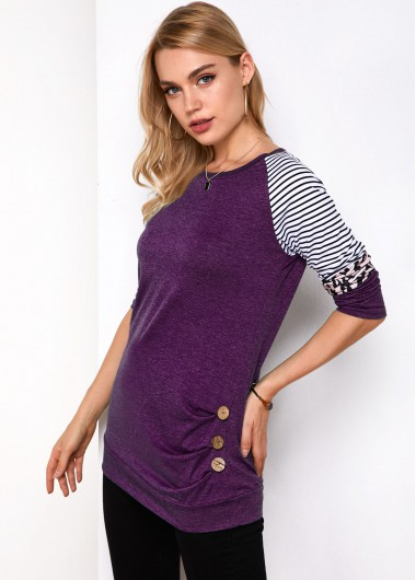 Stripe and Leopard Round Neck Long Sleeve T Shirt - XL
